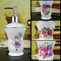 Wholesale flower soap dispenser resale online - Ceramic soap bottle ultra thin super white bone china flowers design hand soap dispenser ceramic soap dispenser lotion bottle luxury gift