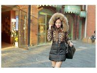Wholesale Down Jacket Leopard - 2016 new fashion 100% Raccoon Fur Collar Duck down Jacket Women's Leopard Print Coat Medium-long Jacket for Winter Coat YRF020