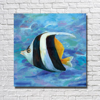 Wholesale Modern Art Fish Paintings - Deep Ocean Fish Pictures on Canvas Home Decor Sitting Room Wall Decor Hand made Oil Painting Modern Art 1 Peices No framed