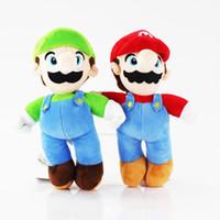 Wholesale Cute Luigi Plush - Cute 10inch 25cm Cartoon Super Mario Bros Stand MARIO & LUIGI Plush Toy Stuffed Doll Baby Toys
