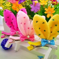 Wholesale Kinder Barrette - 15% off! Fashion Hair Accessories Cute Dotted Rabbit Ear Hairpins Bow HairClips 9 kinds of colors optional 100pcs