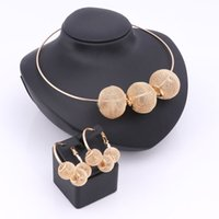 Wholesale Crystal Necklace Pendents - Fashion Nigerian Beads Jewelry Sets For Women Gold Plated Wedding Party Accessories Hollow Ball Pendents Necklace Earring