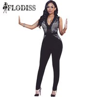582f6ee4494 Wholesale- FLODISS 2017 New Summer Celebrity Runway Black Lace Jumpsuits  Big Women Peter Pan V-Neck Sleeveless Rompers Plus Size Overalls