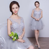 Wholesale Tulle Cocktail Dresses Transparent - 2016 New Fashion Grey Lace Short Cocktail Dresses Transparent Backless Sexy Bride Party dresses Custom Formal Dress Robe De Soiree