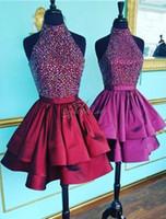 Wholesale Hot Girls Backless - Burgundy Short Homecoming Dresses 2017 Bling Peals Knee Length Satin Backless Sexy Homecoming Dress 2017 Hot Selling Girls Party Gown