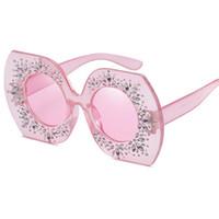 unregelmäßige polygone großhandel-Mode Frauen Retro Marke Designer Kristall Polygon Unregelmäßige Sonnenbrille Diamanten Sonnenbrille UV400 Y206
