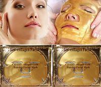 biyolojik nemlendirici kollajen maske toptan satış-Stokta Altın Biyo-Kolajen Yüz Maskesi Yüz Maskesi Kristal Altın Tozu Nemlendirici Anti-aging Kollajen Yüz Maskesi Ücretsiz DHL FedEx 500 adet
