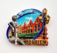 Wholesale Place Stickers - magnet planet Hot sale Brussels Belgium Grand Place Manneken-Pis Statue 3D Fridge Magnet Travel Souvenir Refrigerator Magnetic Stickers