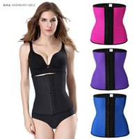 Wholesale Wholesale Latex Shapers - Wholesale- Hot Body Shapers Latex Waist Cincher 9 Steel Bones Weight Loss Latex Waist Trainer Corsets Hot Shapers Fajas Waist Trimmer Belts