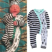 Wholesale baby boy rompers sale - hot sale kids boy girl rompers famous brand top jumpsuits Baby Girls Boys Long Sleeve Striped Arrow Bodysuit fashion Outfits free shipping