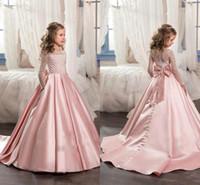 uzun kollu narin gelinlik toptan satış-2018 Yeni Pembe Uzun Kollu Çiçek Kız Elbise Düğün İçin Yay Düğüm Ile Narin Boncuklu Sequins Balo Kat Uzunluk Kızlar Örgün Giyer