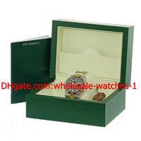 relógios de aço inoxidável venda por atacado-Venda por atacado - Luxo inoxidável 18k amarelo ouro cerâmica GMT II Mens Watch Black # 116713 Caixa de papéis Relógios Masculinos