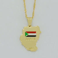 Wholesale Cross Maps - Map of Sudan Pendant & Necklaces 18k Yellow Gold Plated Sudan map Juba Jewelry,African map Jewellery #002210