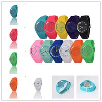 without dress womens 2018 - Newly Design Womens Mens Dress Leisure Sports Watch Candy Color Jelly Silicone Geneva Watch Free Shipping