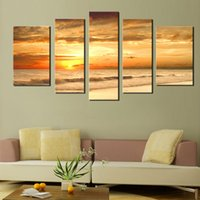 Wholesale Large Sunset Canvas - 5 Picture Combination Modern Yellow Color Sunset Seascape Paintings Natural Scenery Large Painting Canvas Prints For Home Wall Decoration