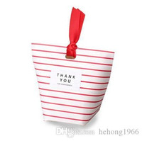 Wholesale free chemicals for sale - Birthday Square Stripes Candy Gift Box With Red Ribbon Gift Packs Christmas Wedding Portable dp J R