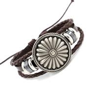 Wholesale Brown Leather Infinity Bracelet - Mens Leather Bracelets Fashion Vintage Alloy Shield Charm Bracelets Black Brown Leather Weave Infinity bracelet Wristband Punk Style Jewelry