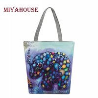 Wholesale Female Elephant - Cartoon Elephant Printed Casual Tote Female Canvas Handbags Daily Use Single Shoulder Bags Women Canvas Shopping And Beach Bag