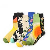 Wholesale Mens Hosiery - 2017 Fashion Popular Women Mens Unisex Skateboard Hosiery Cotton Cartoon Plant Novelty Funny Pattern Socks Colorful Hosiery