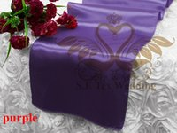 Wholesale Purple Table Runners Wholesale - Cheap Price Purple Color Satin Runner For Table Cloth Banquet Wedding Runner
