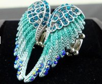 Wholesale Wholesale Wood Wings - 2016 New Angel Wings Feather Stretch Ring Women Biker Bling Jewelry Antique Gold & Silver Plated Wholesale Dropship