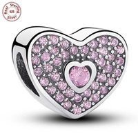 Wholesale Teardrop Glitter - 3pcs lot Authentic 925 Sterling Silver Pink Glitter Heart Pendant Charms European Beads Fit Bracelet Bangle DIY Jewelry S132