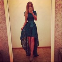 Wholesale Europe Style Dress - 2016 bride dress women casual dresses Europe Summer Style evening dress banquet O-neck short in front long sexy dress