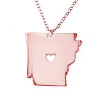 Wholesale Stainless Chain Usa - Arkansas State Necklace Map Pendant Necklaces USA State Pendants Map Necklace With A Heart Handmade Jewelry
