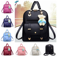 Wholesale media bear - 7 Colors Women Preppy Style PU Leather School Bag Backpack for Teenager Girl Book Bag with Bear Pendant CCA7026 50pcs