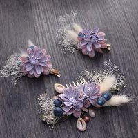 Wholesale Bridal Jewelry Sets Korean - beijia Korean Style Handmade Flower Hair Comb Clips Set Bridal Jewelry Wedding Hair Pins Accessories Women Hairwear G412