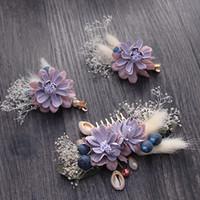brautschmucksets koreanisch großhandel-Beijia Koreanischen Stil Handgemachte Blume Haarkamm Clips Set Brautschmuck Hochzeit Haarnadeln Zubehör Frauen Hairwear G412