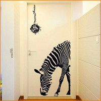 Wholesale Zebra Home Decor - Black Zebra DIY Wall Stickers Wall Poster Wall Stick Abstract Art Decor Animal Stickers Home Decoration (Size 60*90cm)