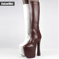 Wholesale Exotic Heels - Free Shipping 2017 NEWThick heel&Bottom Platform Women Knee-High Boots 20cm Extreme High Heels Unisex Exotic Botas Fetish Sexy Cosplay Shoes