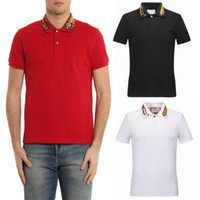 diseños de cuello polo al por mayor-Tiger Collar Top Men Plus 3XL Tigre Bordado Polo Camisa Hombre Moda Diseño Stretch Polos Hombre