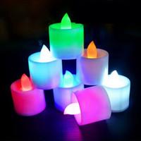 velas accionadas por batería led al por mayor-24 unids / set LED Luces de Vela Electrónicas Celebración del Festival Eléctrico Falso Vela Parpadeo de Batería Sin Llama Bombilla HH7-170