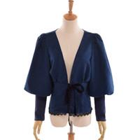 blusa de lazo azul al por mayor-Vintage Steampunk con cuello en V blusa mujer Victorian Lolita manga de soplo arco camisa de gamuza Tops azul / marrón / borgoña