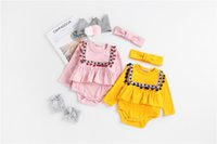 Wholesale High Neck Baby Bodysuit - INS Baby Girls Romper Fall kids climbing Clothes Ruffle Tassel Long Sleeve Toddler Jumpsuit + Hair band high quality Bodysuit Sets C2030