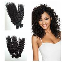 Wholesale mongolian curly hair weave sale resale online - Hot Sale Deep Curly Wave Hair Brazilian Natural color Wave Bundles Hair Weave deep Curly G EASY Hair