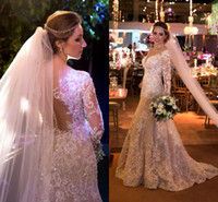 Wholesale Crystal T Back Wedding Dress - Gorgeous Wedding Dresses 2017 Sheer Button Back Lace Appliqued With Sequined Mermaid Bridal Gowns Court Train