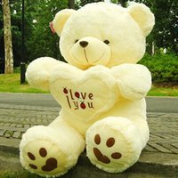 Wholesale Hearts Teddy Bear Gifts - new 90cm 110cm Stuffed Plush Toy Holding LOVE Heart Big Plush Teddy Bear Soft Gift for Valentine Day Birthday Girls' Brinquedos