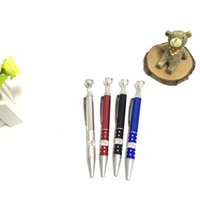 Wholesale Tobacco Stems - Two functions Creative ballpoint pipe Freestyle portable pipe outlet pipe tobacco stems Metal Smoking Pipe vope pen