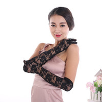 Wholesale long gloves woman for sale - Group buy Sexy opera length women sexy glove stretch floral cheap black red white colors lace long gloves