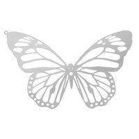 "Wholesale Hollow Butterfly Charms - Stainless Steel Charm Pendants Butterfly Silver Tone Hollow 51mm(2"") x 33mm(1 2 8""),10 PCs 2016 new jewelry making DIY"