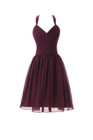 Wholesale Halter Junior Bridesmaid - 2016 Latest Halter Chiffon Short Junior Bridesmaid Dresses Grape Custom Made Simple Design Prom Evening Party Dresses