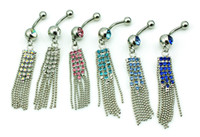 Barbells De Nombril De Strass Pas Cher-Body Piercing Fashion Bagues à ventre 316L Barbells en acier inoxydable Dangle Rhinestone Tassel Navel Anings Jewelry