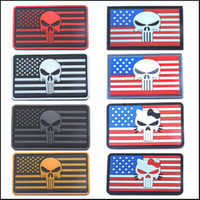 Wholesale American Flag Clothing Accessories - 2016 50 PCS The Thin Blue Line DEVGRU Seal Team Punisher American flag 3D PVC Patch White Red Grey Green Luminous 2177