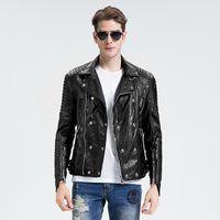 Wholesale Punk Rock Leather Jacket Men - Fall- winter jacket men black leather jacket skull rock rivet sheepskin coat punk genuine leather mens motorcycle jacket