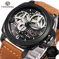 Wholesale Genuine Leather Automatic Men Watch - 2017 New Men Luxury Casual Watches Skeleton Automatic Mechanical Wrist Watch Matte Genuine Leader Band WINNER Top Brand Luxury