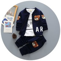 Wholesale Tshirt Coat Pants - Wholesale- New Spring autumn Baby Boy Clothing Set Boy Sports Suit Set baby Lovely Pattern Outfits Clothes Casual Tshirt+coat+pants