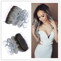 Cheap Indian Virgin Human Hair 1B / Grey Ombre Body Wave 13x4 Pieds en dentelle complète Silver Silver Ombre Lace Frontal Closure Bleached Knots